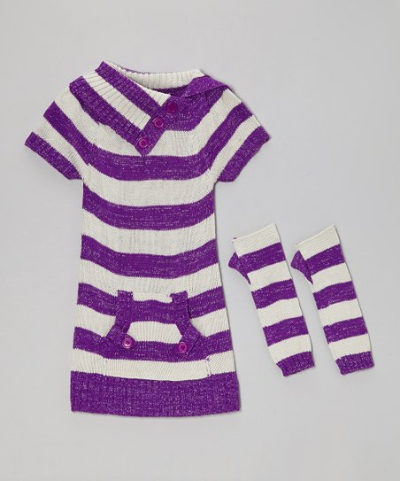Purple & Gray Stripe Pocket Sweater Dress & Arm Warmers - Girls