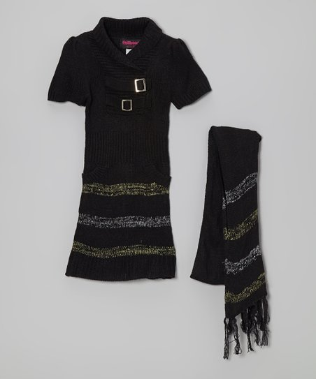 Black Stripe Buckle Sweater Dress & Scarf - Girls