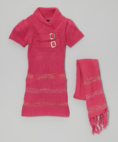 Pink Stripe Buckle Sweater Dress & Scarf - Girls