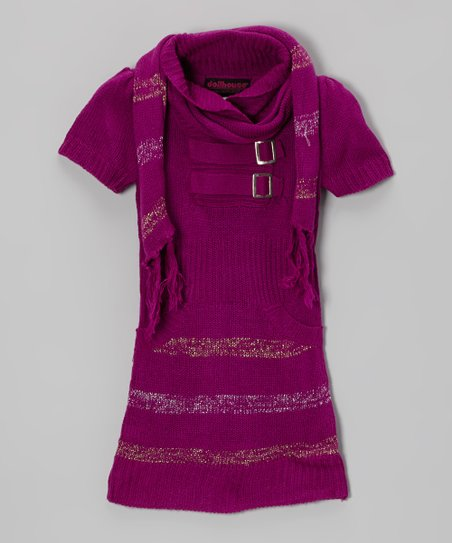 Purple Stripe Buckle Sweater Dress & Scarf - Girls