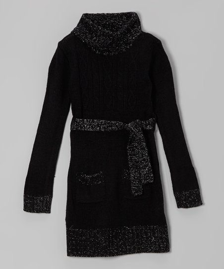 Black Sparkle Cable-Knit Tie-Waist Sweater Dress - Girls