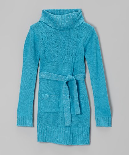 Blue Sparkle Cable-Knit Tie-Waist Sweater Dress - Girls