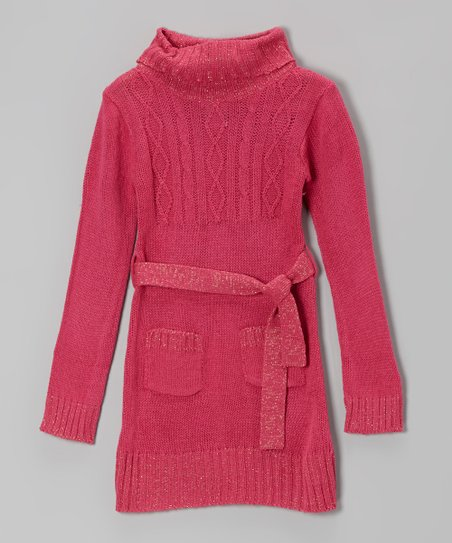 Pink Sparkle Cable-Knit Tie-Waist Sweater Dress - Girls