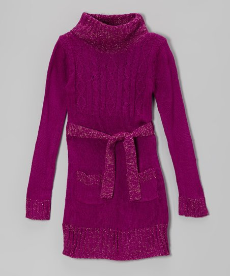 Purple Sparkle Cable-Knit Tie-Waist Sweater Dress - Girls