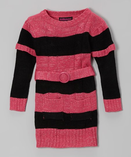 Black & Pink Stripe Layered Sweater Dress - Girls