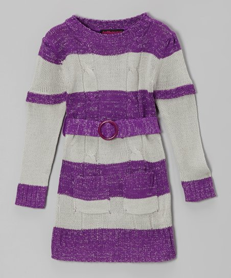 Purple & Gray Stripe Layered Sweater Dress - Girls