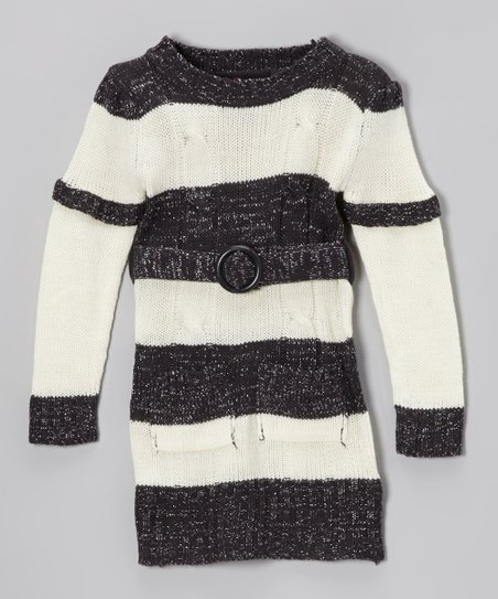 Black & Cream Stripe Layered Sweater Dress - Girls