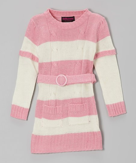 Pink & Cream Stripe Layered Sweater Dress - Girls