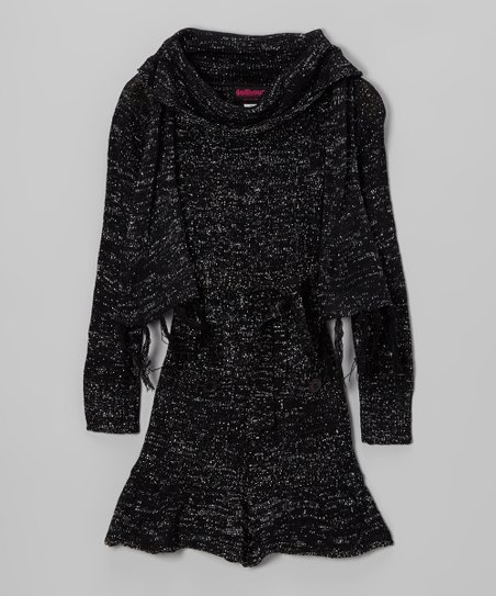 Black Sparkle Cowl Neck Sweater Dress & Scarf - Girls