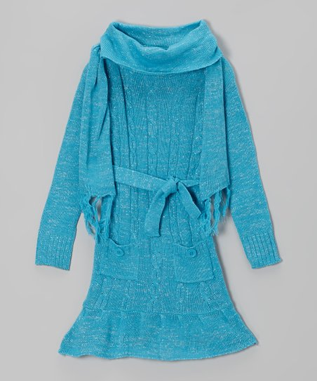 Blue Sparkle Cowl Neck Sweater Dress & Scarf - Girls