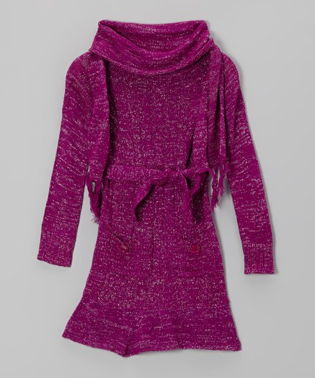 Purple Sparkle Cowl Neck Sweater Dress & Scarf - Girls