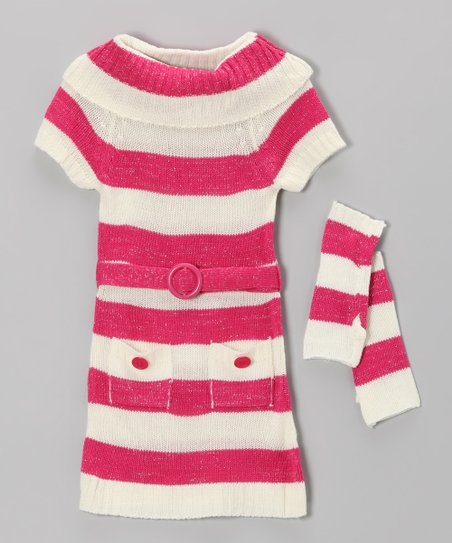 Pink Stripe Sweater Dress & Arm Warmers - Toddler & Girls