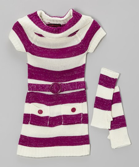 Purple Stripe Sweater Dress & Arm Warmers - Toddler & Girls