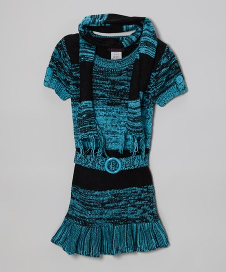 Aqua Ruffle Sweater Dress & Scarf - Infant