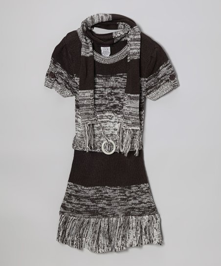 Gray Ruffle Sweater Dress & Scarf - Infant