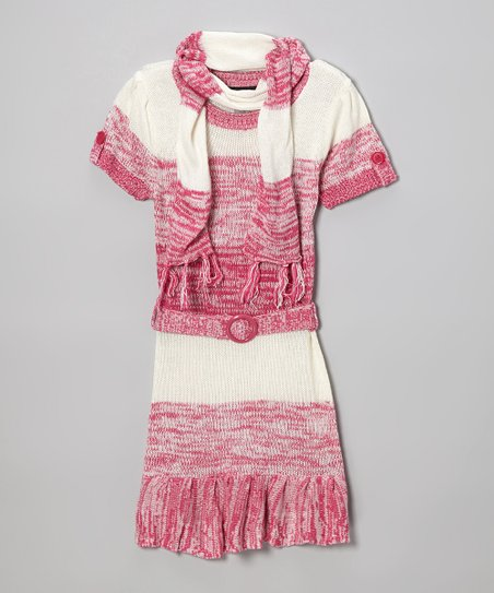 Pink Ruffle Sweater Dress & Scarf - Infant