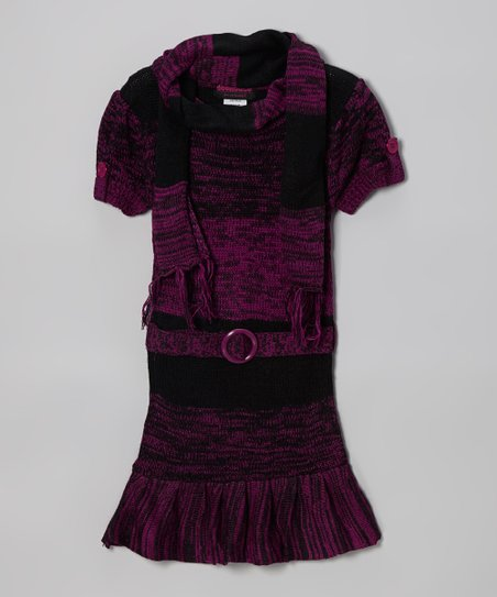 Purple Ruffle Sweater Dress & Scarf - Infant