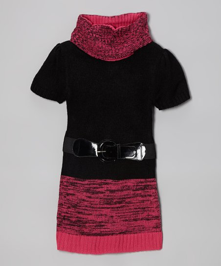 Pink & Black Color Block Belted Sweater Dress - Toddler & Girls