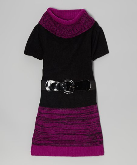 Purple & Black Color Block Belted Sweater Dress - Toddler & Girls