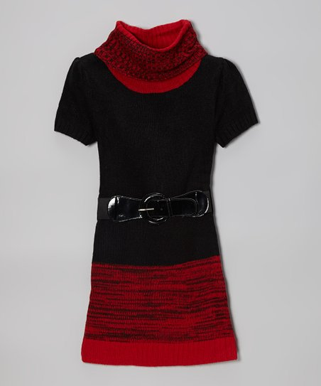 Red & Black Color Block Belted Sweater Dress - Toddler & Girls