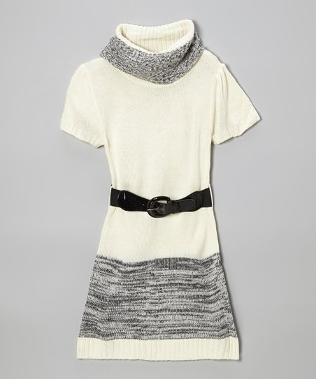 Cream & Black Color Block Belted Sweater Dress - Toddler & Girls