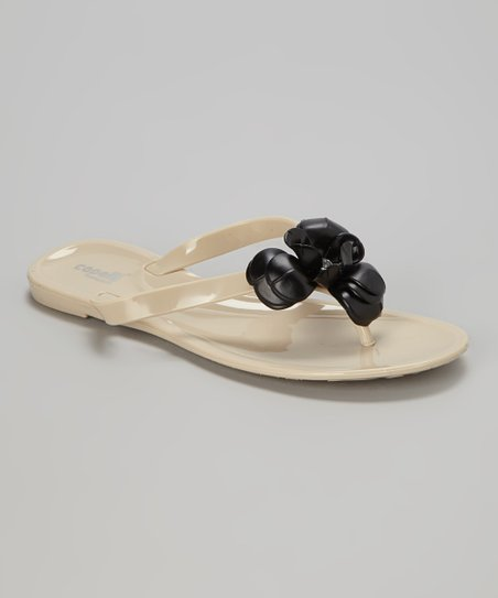 Natural & Black Flower Rose Jelly Sandal