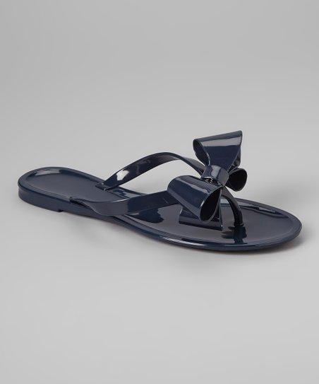 Navy Bow Jelly Sandal