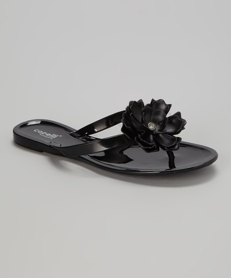 Black Flower Jelly Sandal