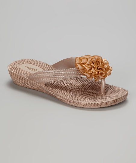 Rose Gold Glitter Flower Sandal