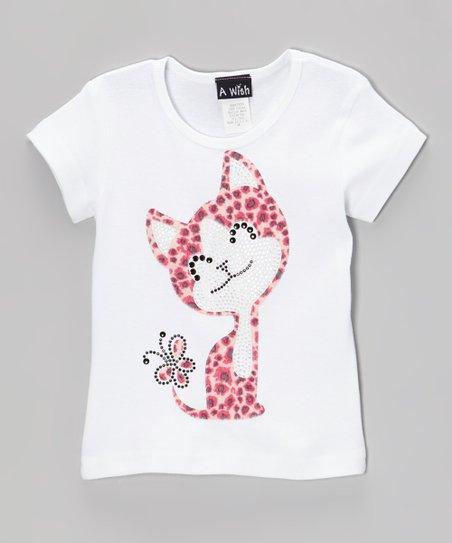 White Rhinestone Kitty Short-Sleeve Tee – Toddler & Girls