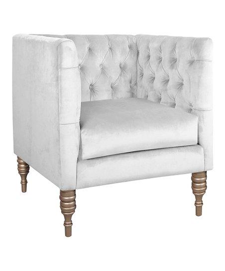 White Tufted Velvet Armchair