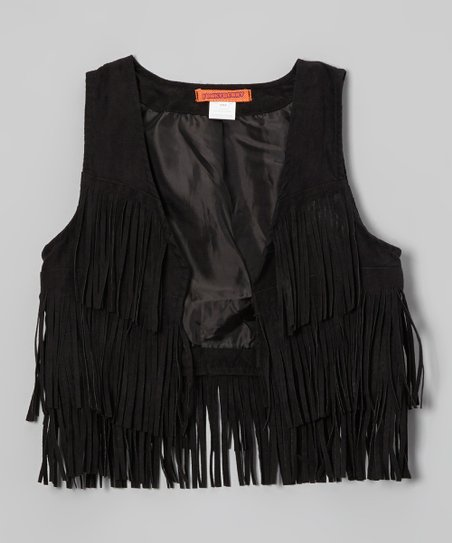 Black Fringe Faux Suede Vest - Toddler & Girls
