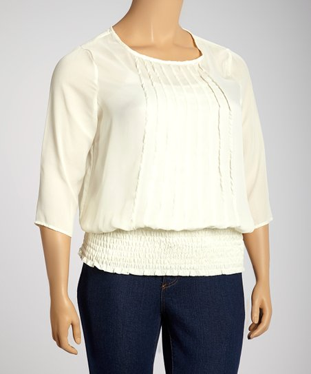 Ivory Pleated Three-Quarter Sleeve Top - Plus