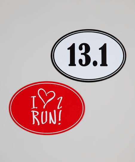Red & White '13.1' & 'I Love 2 Run' Car Magnets