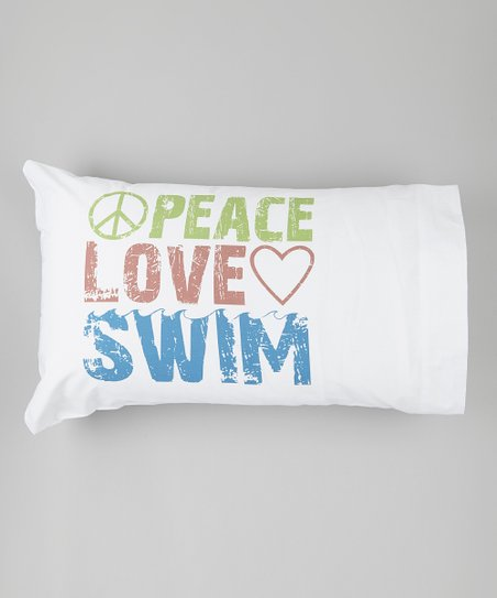 White 'Peace Love Swim' Pillowcase