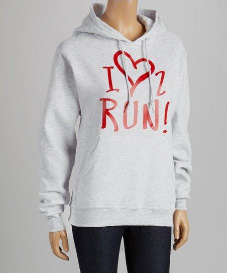 White 'I Heart 2 Run' Hoodie – Adult