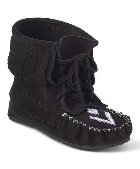Black Harvester Suede Moccasin Boot