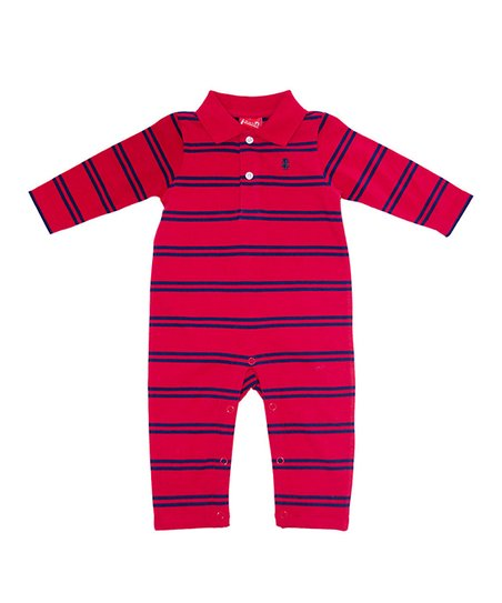 Red & Blue Stripe Playsuit - Infant