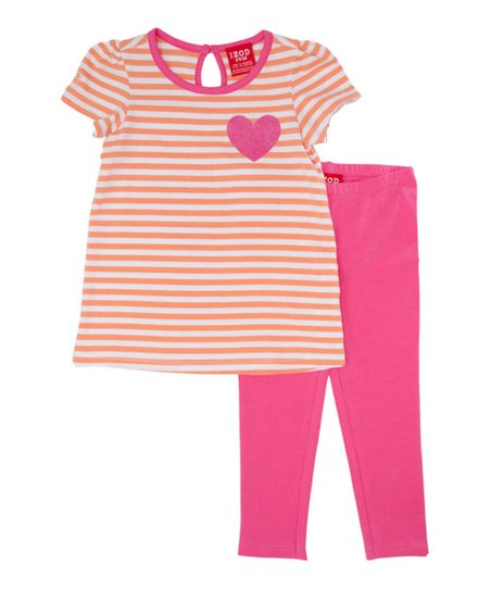Orange Stripe Heart Top & Pink Leggings - Infant & Toddler