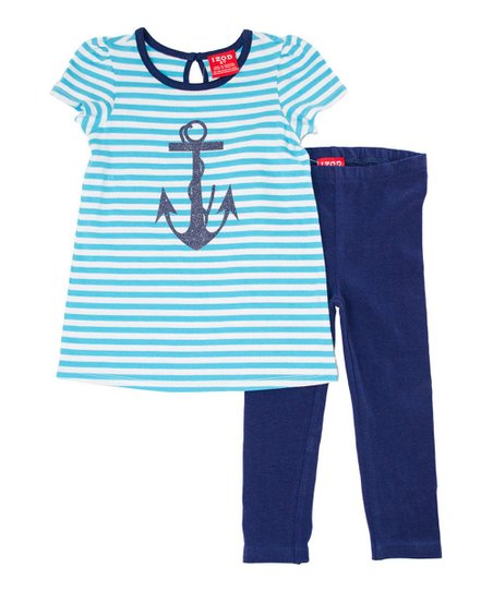 Cyan Stripe Anchor Top & Blue Leggings - Infant & Toddler