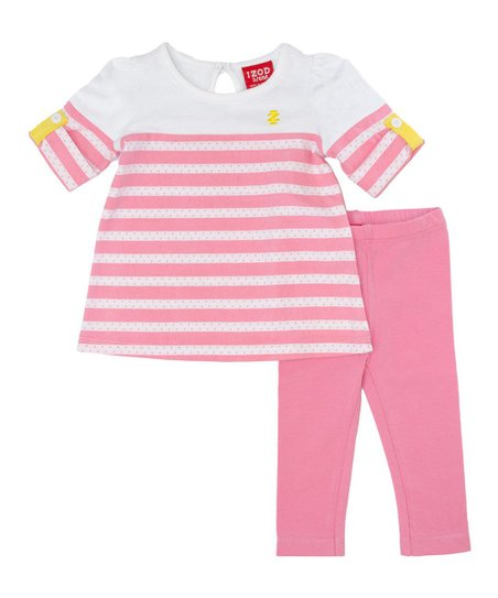 White Stripe Top & Pink Leggings - Infant & Toddler