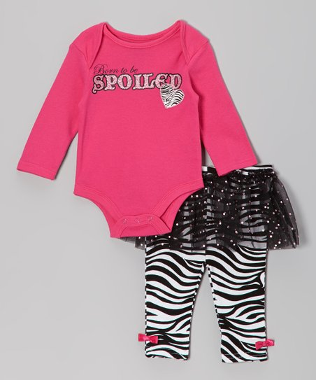 Pink 'Born to be Spoiled' Bodysuit & Skirted Leggings - Infant