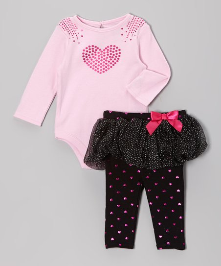 Pink & Black Foil Hearts Bodysuit & Skirted Leggings