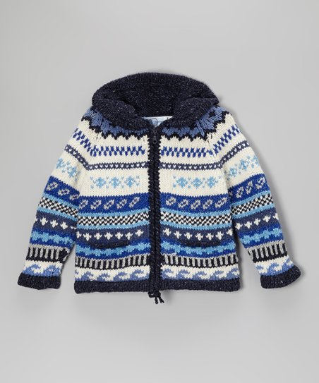 Blue Mosaic Wool-Blend Zip-Up Hoodie - Girls