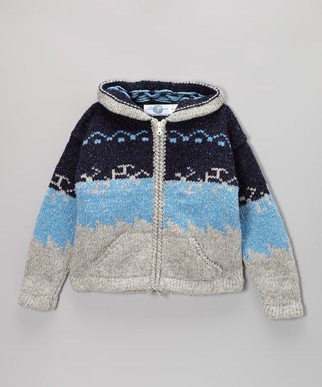 Blue & Gray Nordic Wool-Blend Zip-Up Hoodie – Kids