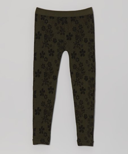 Olive Green Floral Leggings - Girls