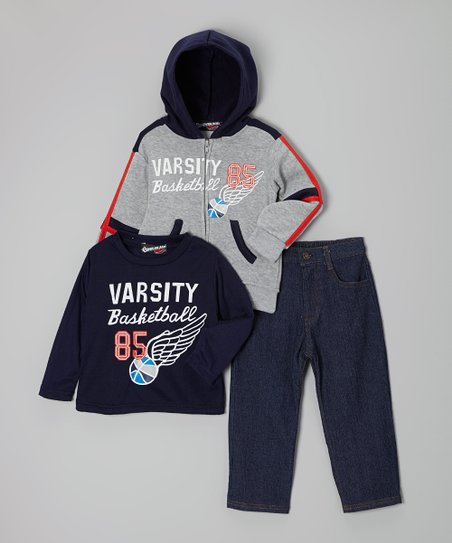 Gray 'Varsity Basketball' Zip-Up Hoodie Set - Toddler & Boys