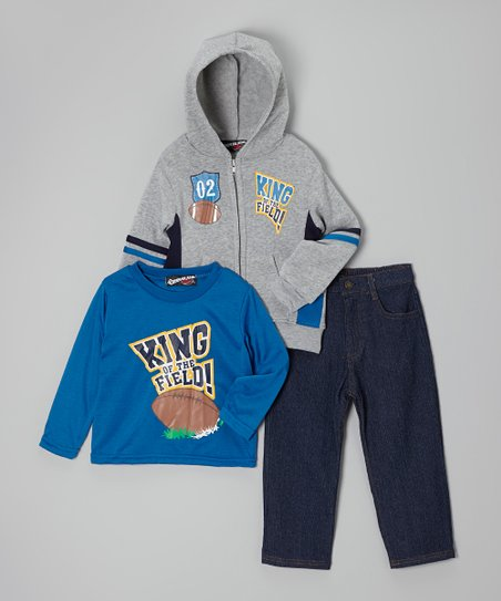 Gray Football Zip-Up Hoodie Set - Toddler & Boys