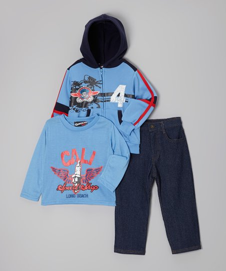 Light Blue 'Speed Shop' Zip-Up Hoodie Set - Toddler & Boys