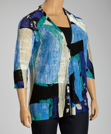 Sky Blue & Cobalt Abstract Linen-Blend Cardigan - Plus